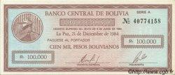 10 Centavos sur 100000 Pesos Bolivianos BOLIVIE  1987 P.197 SPL+