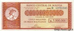 5 Bolivianos sur 5000000 Pesos Bolivianos BOLIVIE  1987 P.200a SPL