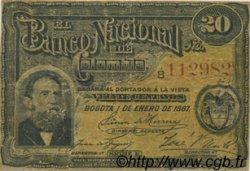 20 Centavos - 2 Reales COLOMBIE  1887 P.189 TB