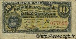10 Centavos COLOMBIE  1888 P.211 TB