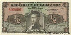 1/2 Peso Oro COLOMBIE  1948 P.345a pr.NEUF