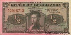 1/2 Peso Oro COLOMBIE  1953 P.345b TTB