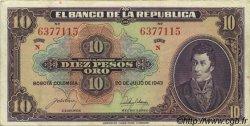 10 Pesos Oro COLOMBIE  1943 P.389b TTB+