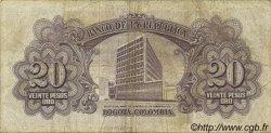 20 Pesos Oro COLOMBIE  1961 P.401c TB+