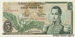 5 Pesos Oro COLOMBIE  1981 P.406f SUP+