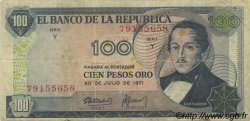 100 Pesos Oro COLOMBIE  1971 P.410c TB+