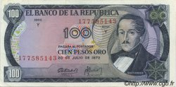 100 Pesos Oro COLOMBIE  1973 P.415 SUP+