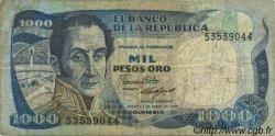 1000 Pesos Oro COLOMBIE  1986 P.424c TB