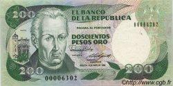 200 Pesos Oro COLOMBIE  1988 P.429d pr.NEUF