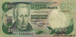 200 Pesos Oro COLOMBIE  1988 P.429d TB