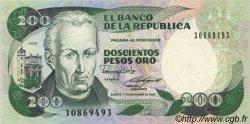 200 Pesos Oro COLOMBIE  1988 P.429d NEUF