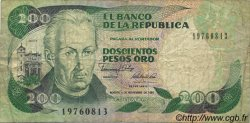 200 Pesos Oro COLOMBIE  1989 P.429d TB