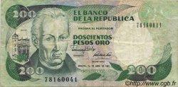 200 Pesos Oro COLOMBIE  1989 P.429d TTB