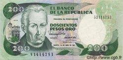 200 Pesos Oro COLOMBIE  1989 P.429d SUP