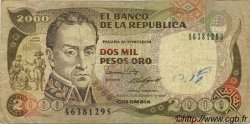 2000 Pesos Oro COLOMBIE  1986 P.433 TB