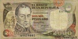 2000 Pesos Oro COLOMBIE  1990 P.433 TB