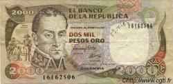 2000 Pesos Oro COLOMBIE  1992 P.433Aa TB