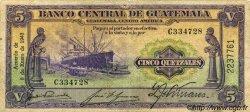 5 Quetzales GUATEMALA  1943 P.016a TB