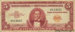 5 Pesos Oro RÉPUBLIQUE DOMINICAINE  1962 P.092a TB