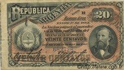 20 Centavos ARGENTINE  1884 P.007a TTB