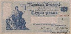 5 Pesos ARGENTINE  1908 P.244a TTB