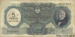5 Pesos sur 500 Pesos ARGENTINE  1969 P.283 B+
