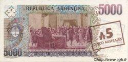5 Australes ARGENTINE  1985 P.321 SUP+