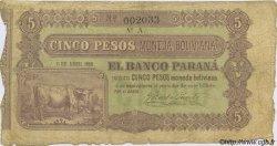 5 Pesos Bolivianos ARGENTINE  1868 PS.1817a B à TB