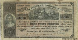 10 Pesos Fuertes ARGENTINE  1873 PS.--- (vers 1800) TB+