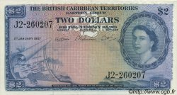 2 Dollars CARAÏBES  1957 P.08b TTB+