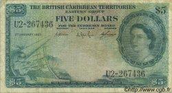 5 Dollars CARAÏBES  1963 P.09c pr.TB