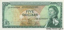5 Dollars CARAÏBES  1965 P.14e pr.SPL