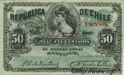 50 Centavos CHILI  1891 P.010a TTB+
