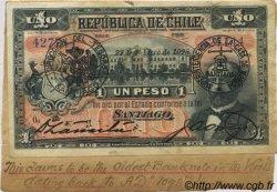 1 Peso CHILI  1898 P.015a TTB+