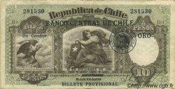 10 Pesos - 1 Condor CHILI  1925 P.074 TTB