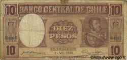 10 Pesos - 1 Condor CHILI  1933 P.092c B+