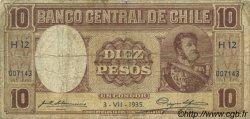 10 Pesos - 1 Condor CHILI  1935 P.092d B