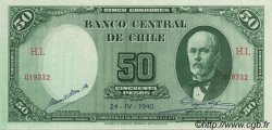50 Pesos - 5 Condores CHILI  1940 P.094c SUP à SPL