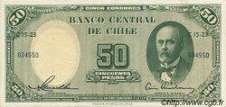 50 Pesos - 5 Condores CHILI  1958 P.121b SUP