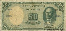5 Centesimos sur 50 Pesos CHILI  1960 P.126b pr.TB