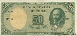 5 Centesimos sur 50 Pesos CHILI  1960 P.126b TTB