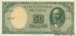 5 Centesimos sur 50 Pesos CHILI  1960 P.126b SUP