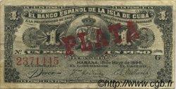 1 Peso CUBA  1896 P.047b TTB