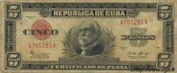 5 Pesos CUBA  1943 P.070e TB