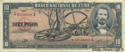 10 Pesos CUBA  1960 P.088c TTB+