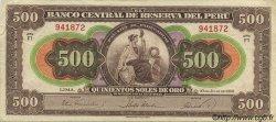 500 Soles PÉROU  1952 P.074 TTB+