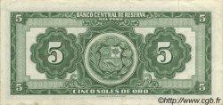 5 Soles PÉROU  1960 P.076 SUP+