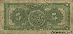 5 Soles de Oro PÉROU  1965 P.083 B