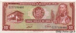 10 Soles de Oro PÉROU  1971 P.100b SPL