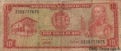 10 Soles de Oro PÉROU  1972 P.100c B+